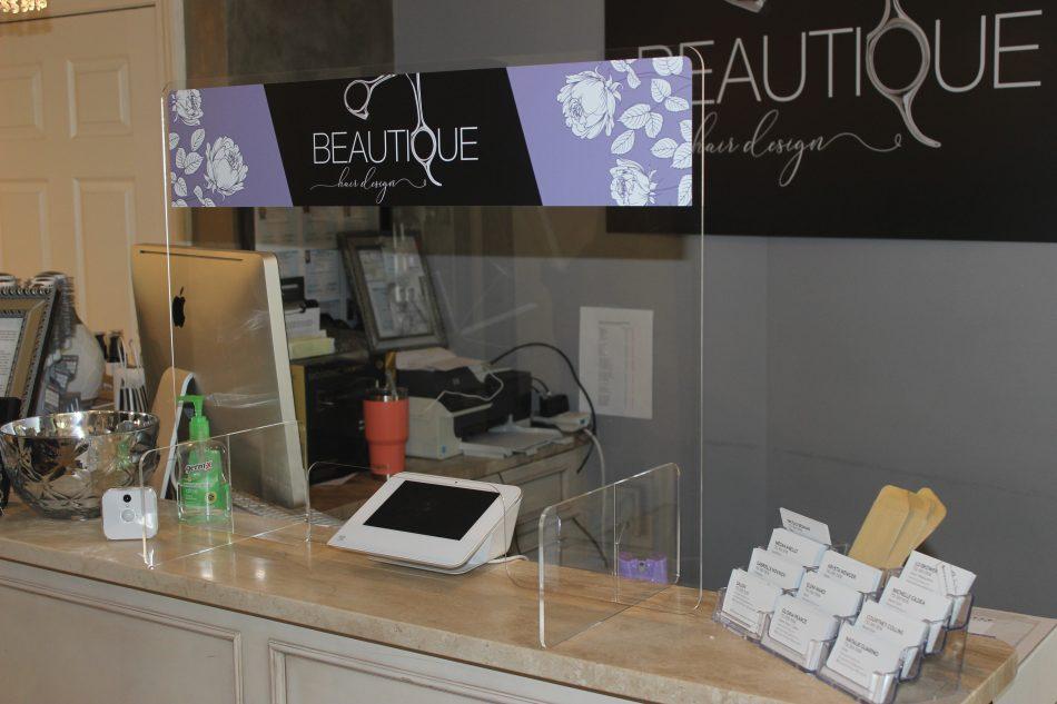 salon countertop sneeze guard