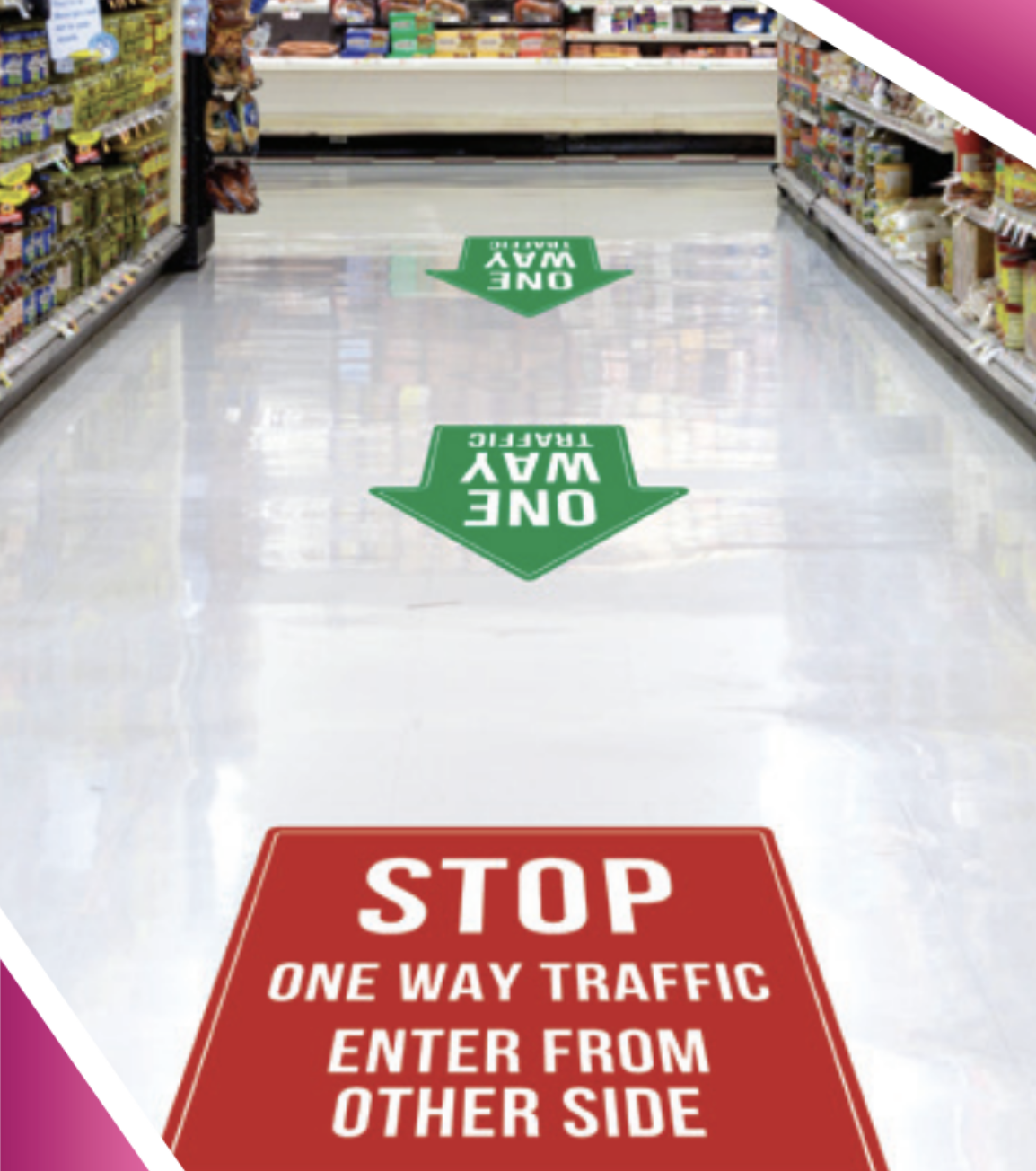 covid-19 grocery store isle floor signage