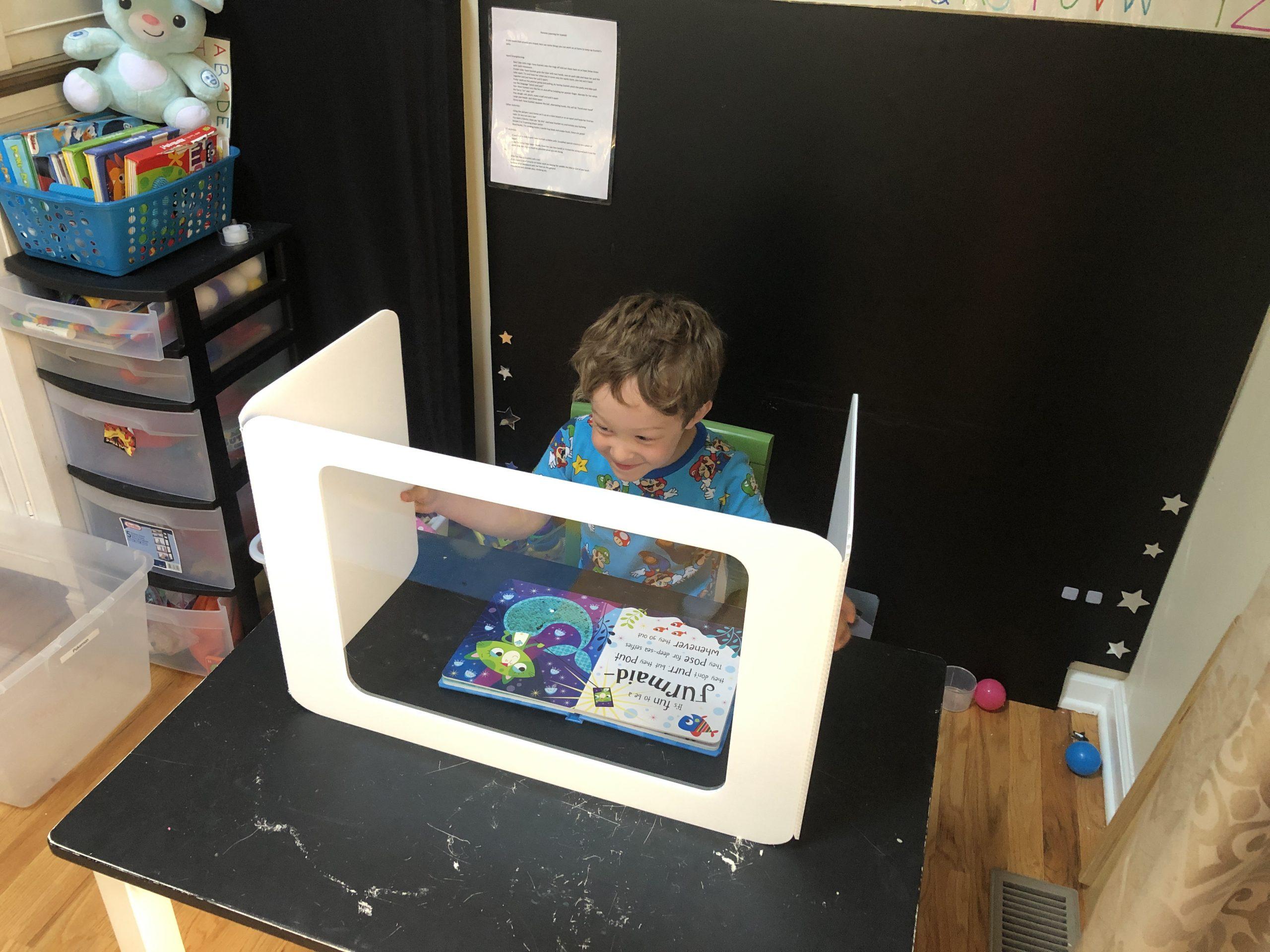 foldable student desk shield